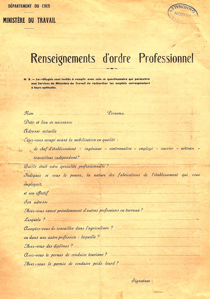 document  pour les refugies renseignement